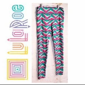 LulaRoe Tall & Curvy TC Pink Turquoise Leggings
